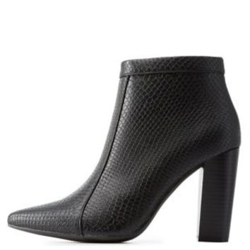 Black Snake-Textured Pointed Toe Booties by Charlotte Russe