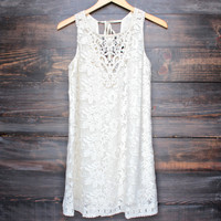 final sale - in a haze crochet shift dress - sand