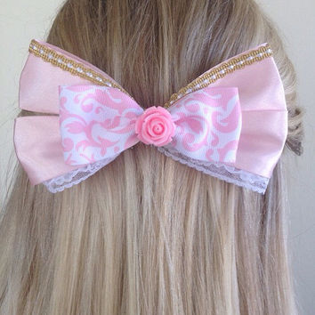 Aurora Pink Rose Princess Bow, True Love's Kiss by Design Bowtique