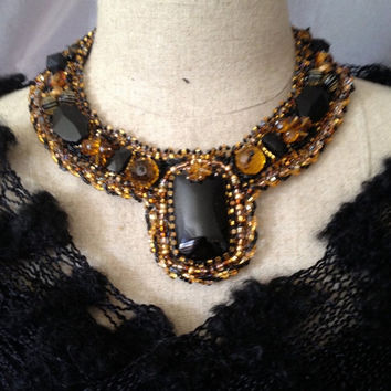 ON SALE Embroidered Necklace-Stunning Black and Bronze Beads
