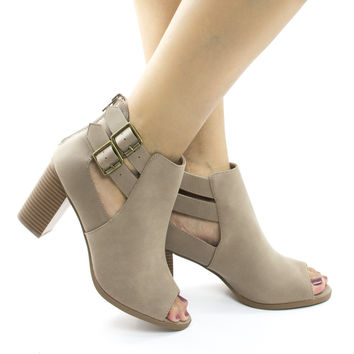 Wilma Taupe Nubuck by Soda, Taupe Nubuck Peep Toe Cut Out Ankle High Stacked Heel Booties