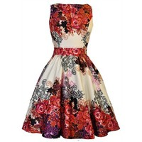 Cream Tea Red Rose Floral Dress