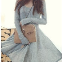 Grey Blends Women Fashion Round Neck Long Sleeve Asymmetrical Knee-Length Dress One Size FZ72261g (Color Gray)