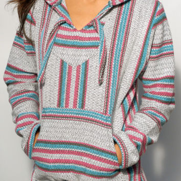 Baja Hoodies - Baja Hoodie for Women | Turquoise, Pink, and Gray - The World's Greatest Baja Hoodie Selection | Señor Lopez Poncho | BajaHoodiez.com