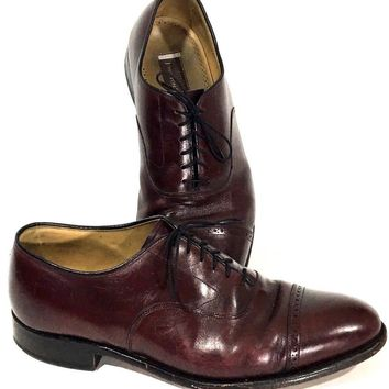 Johnston & Murphy Oxford Cap Toe Brown Dress Shoes Lace Up 24-8565 Mens Size 11 - Preowned