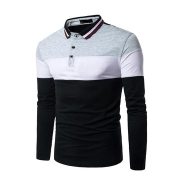 Men's Polo Shirt For Men Autumn Male Hit Color Cotton Polo Long Sleeve Casual polo Slim Fit