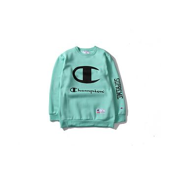 Champion tide brand fall men 's casual round neck collar long - sleeved sweater Korean simple letter printing coat Green