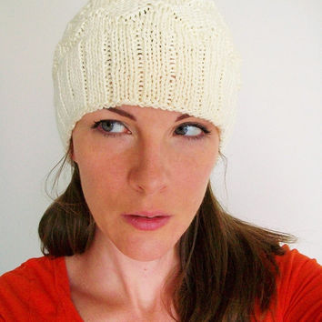 Cream Pale Yellow Knit Hat Diamond Pattern Slouchy Hat Handmade Knit Cap Reversable Winter Hat
