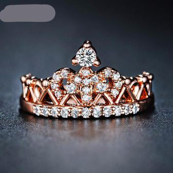 Crown Shaped Ring Rose Gold Plated Rings