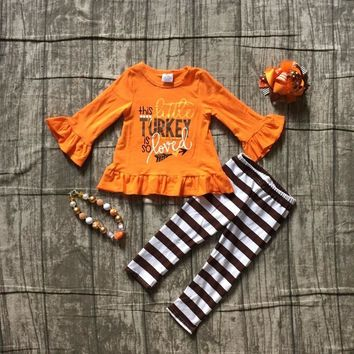 new autumn thanksgiving Fall/Winter baby girls cutie orange turkey outfits stripe pant clothes ruffle boutique match accessories