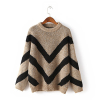 Dropped Shoulder Pullover Batwing Loose Short Sweater