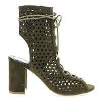 Sundaze Olive Green By Shoe Republic, Block High Heel Bootie Sandal Ghillie Lace Up Sandal Perforation