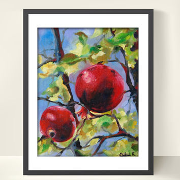 Pomegranates Branch Oil Painting Art Print, Red Pomegranates, Nature, Branch, Oil Painting Art