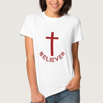 Christian Believer Red Cross and Text Design T-shirt