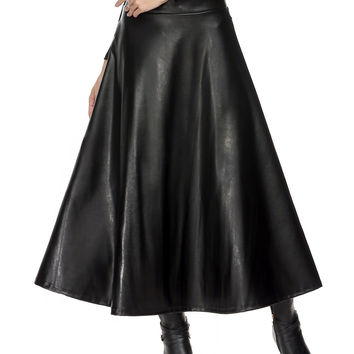 Winter Womens Maxi Skirt PU leather long skirt Slim Waist Autumn Vintage fashion Pleated Swing skirt Black 63