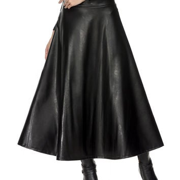 FANALA Women Faux Leather Skirt Maxi High Waist Skirts Womens High Waist Solid Black Skirt Female Spring Summer