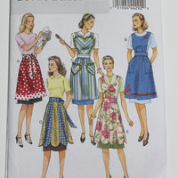 Butterick Vintage style Apron pattern new uncut sizes small medium large five styles retro style