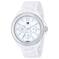 Tommy Hilfiger 1781427 Women's White Dial White Resin Strap Dual Time Watch