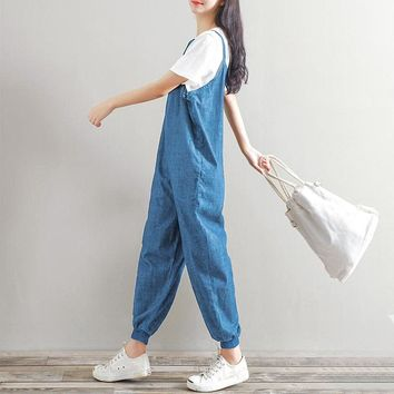 Maternity Denim Harem Overalls