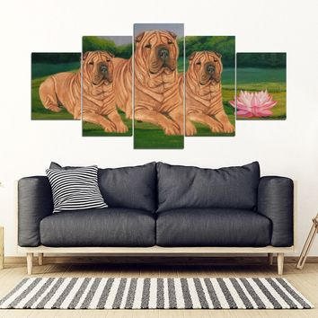 Shar Pei Dog Print-5 Piece Framed Canvas- Free Shipping
