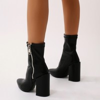 Renzo Sock Fit Ankle Boots in Black