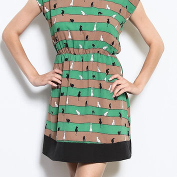 Green Cat Dress - Retro Style - Kitty Clothing Womens Tunic - Screen Printed Dress - Striped Dresses