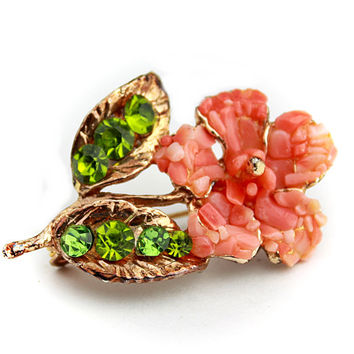 Coral Tone Flower Brooch with Green Rhinestones / Coral Tone Statement Brooch