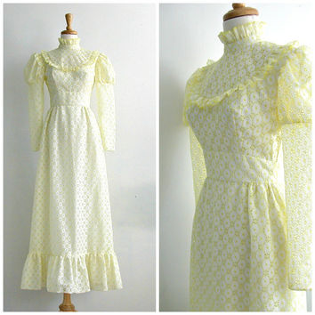 1960s Eyelet Dress / wedding dress / victorian style / empire waist / spring wedding / white yellow / prom gown / small
