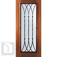 Slab Home Single Door 80 Mahogany Warwick Full Lite Wrought Iron