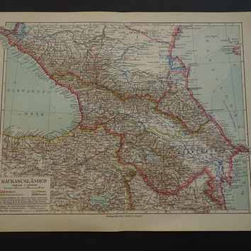 CAUCASUS old map of the Caucasus 1926 original antique map Georgia Armenia Russia - vintage poster maps about Kaukasus Rusland Georgië