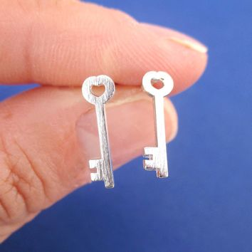 Tiny Skeleton Key Shaped Allergy Free Stud Earrings in Silver