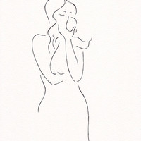 Original sketch. Minimalist drawing of a mother with baby. Pen and ink illustration wall art.
