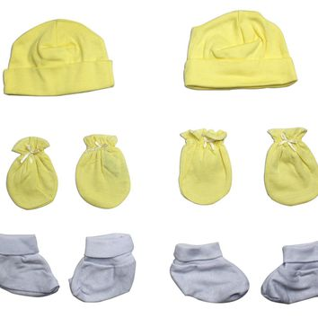 Bambini Neutral Cap, Booties and Mittens 6 Piece Layette Set  - Made in USA