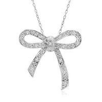 1/10cttw. Sterling Silver Diamond Bow Pendant-Necklace  18in. Chain