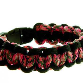 Survival Bracelet Valentine Pink Camo and Black by by MagicByLeah