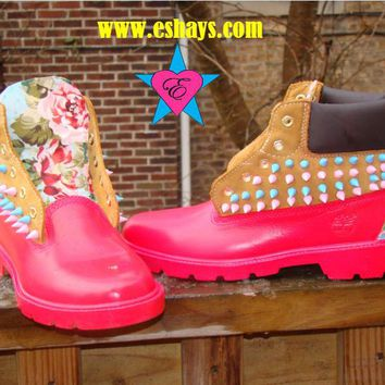 Custom Pink Painted Spiked Timberland Light Blue Floral Print w/ Spikes in Back
