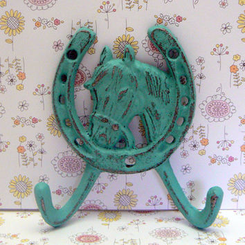 Horse Head Double Hook Cast Iron Shabby Chic Horsehead Distressed Dark Turquoise Aqua Blue Wall Horseshoe Jewelry Leash Coat Hat Wall Hook
