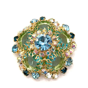 Juliana Foral Rhinestone Brooch, Aqua Green Sapphire and  Aurora Borealis Rhinestones, Dog Tooth Prongs, Raised Dome, Vintage Gift for Her