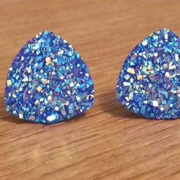 Druzy earrings-  Triangle iridescent blue druzy earrings