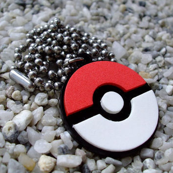 Pokemon ball laser cut acrylic pendant necklace or key chain