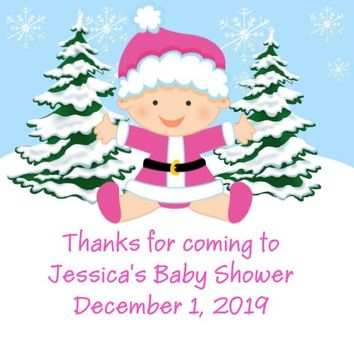 Christmas Baby Shower Favor Tags Pink