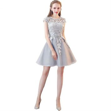 Short Prom Dresses Lace Cap Sleeves Dress for Graduation Party Gown A-line Evening Gowns