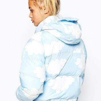 Lazy Oaf Short Padded Jacket With All Over Cloud Print