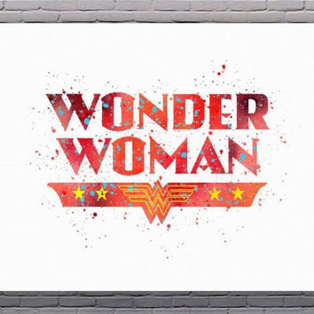Wonder Woman Superhero Logo Watercolor Art Print Instant Download