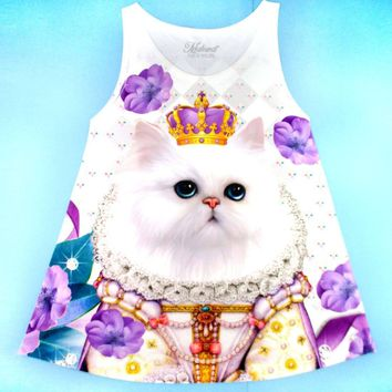 Princess Kitten Surrounded by Flowers Photoshopped Cats All Over Print Tank Top