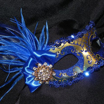 Blue and Gold Fairy Princess Venetian Mask