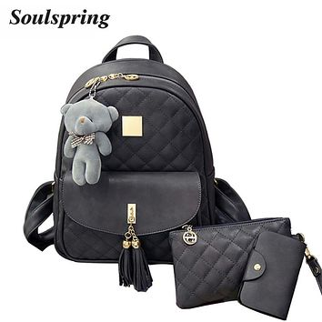 New Plaid 3Pcs/Set Backpack Women School Bags For Teenage Girls Cute Fashion Tassel Backpacks Hot Sac A Dos Purse And Bear 2017