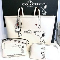 COACH X Peanuts SNOOPY Tote Bag, Cosmetic Case, Wristlet & Key Chain 4pc Set NWT