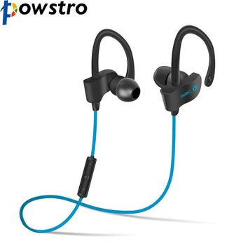 POWSTRO Wireless Bluetooth V4.1 Headset Sport Stereo Headphone Earhook Handsfree Earphone for iPhone Smart Phone 4 Colors