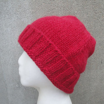 Bright Red Beanie, Slouch Hat, Stocking Cap, Watch Cap, Hand Knit Llama/Wool, Men & Teen Boys